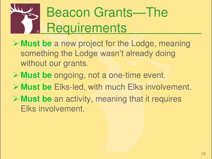 Beacon Grants—The Requirements