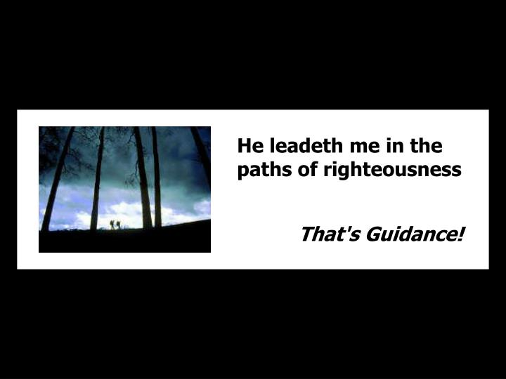 He leadeth me in the paths of righteousness