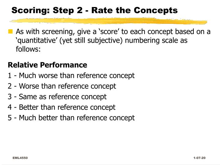 Scoring: Step 2 - Rate the Concepts