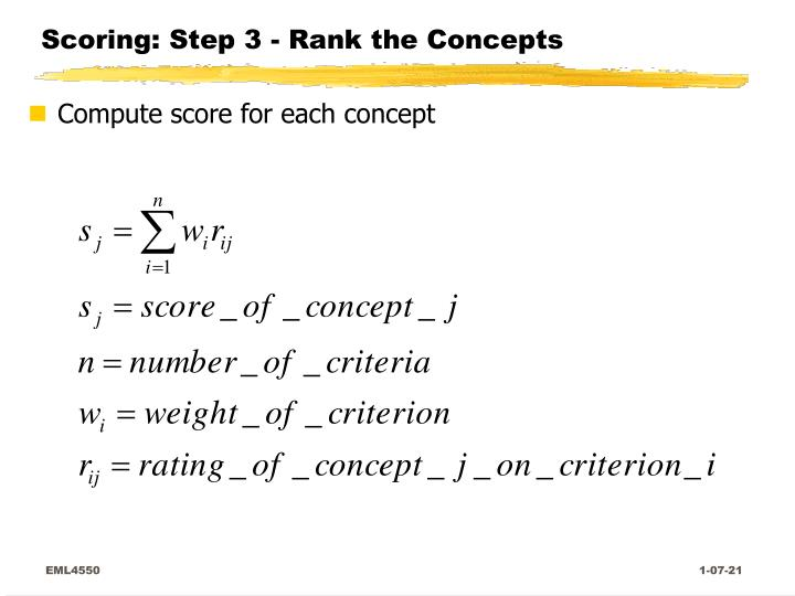 Scoring: Step 3 - Rank the Concepts