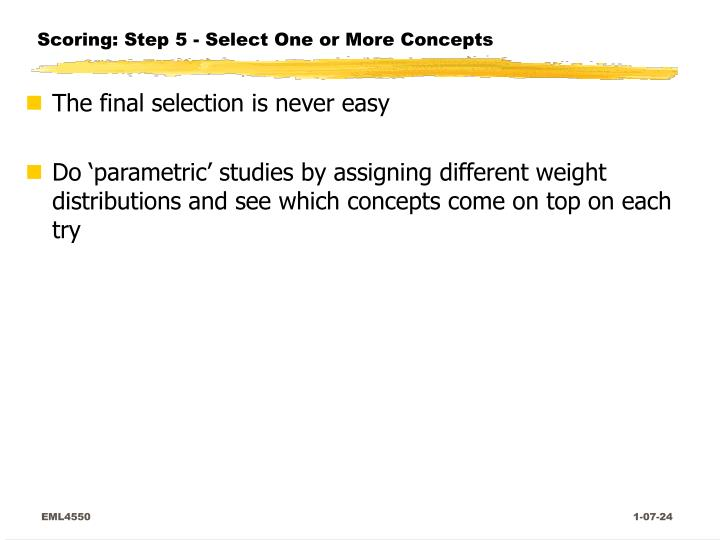Scoring: Step 5 - Select One or More Concepts