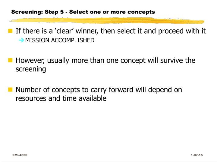 Screening: Step 5 - Select one or more concepts