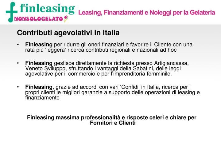 Contributi agevolativi in Italia