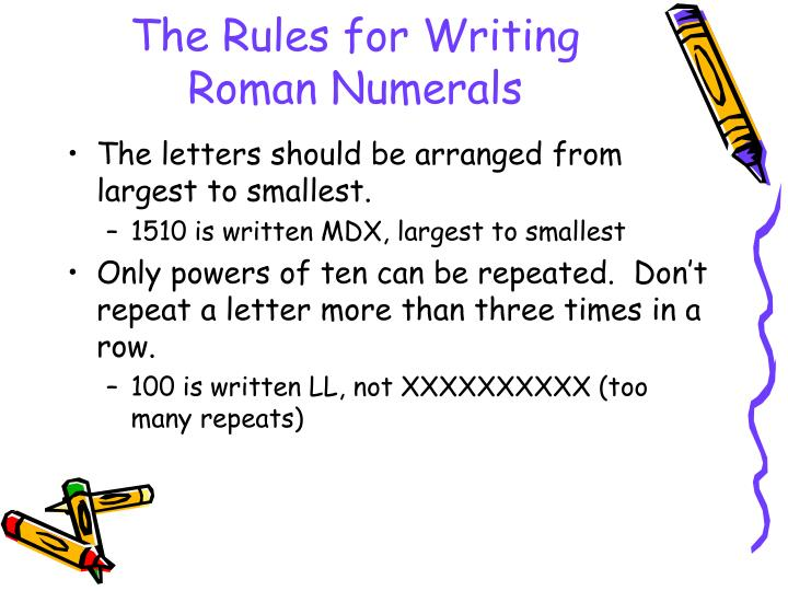The Rules for Writing Roman Numerals