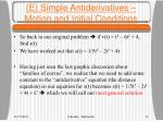 e simple antiderivatives motion and initial conditions