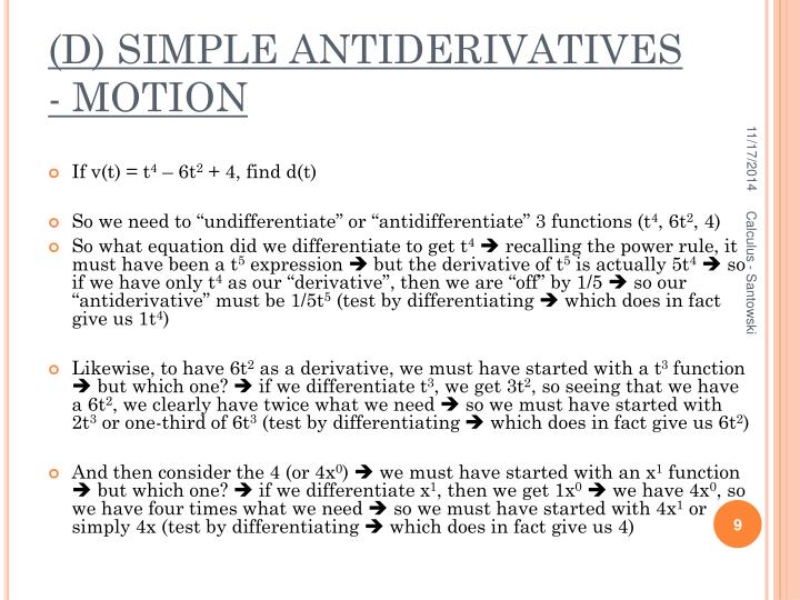 (D) SIMPLE ANTIDERIVATIVES - MOTION