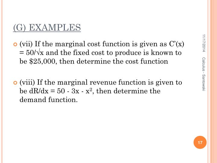 (G) EXAMPLES