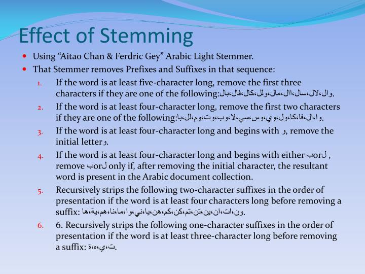 Effect of Stemming