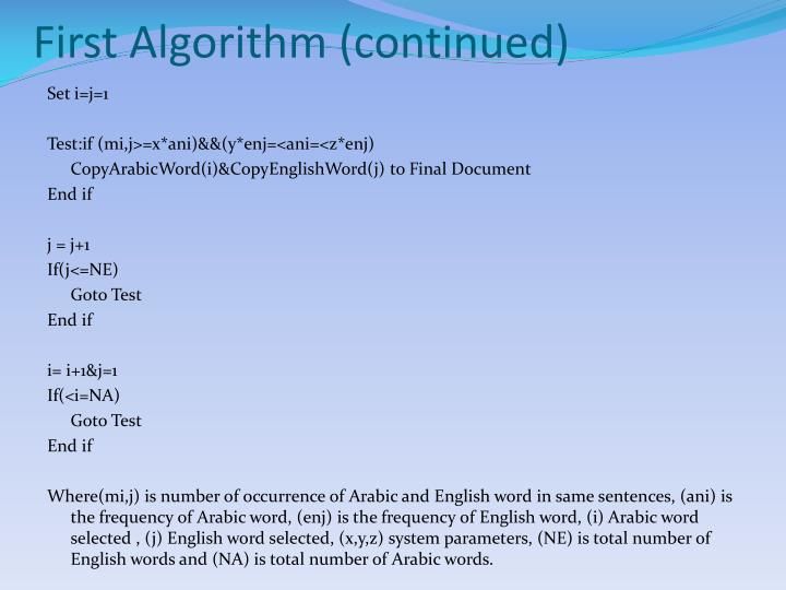 First Algorithm (continued)