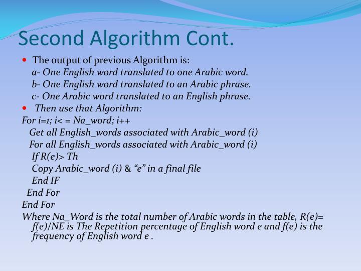 Second Algorithm Cont.