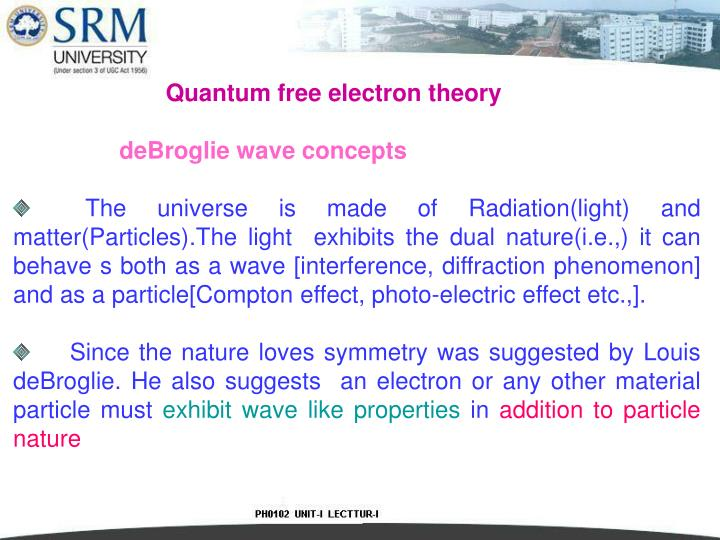 Quantum free electron theory