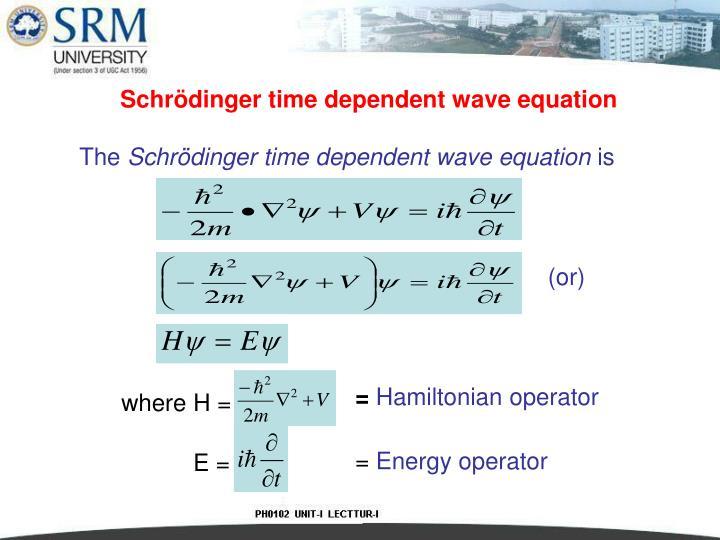 Schrödinger time dependent wave equation