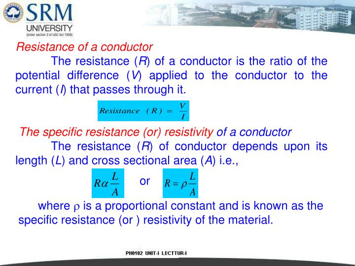 Resistance of a conductor