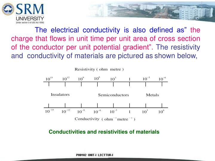 """The electrical conductivity is also defined as"""""""