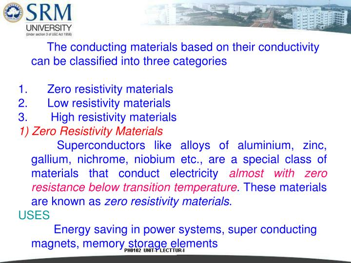 The conducting materials based on their conductivity can be classified into three categories