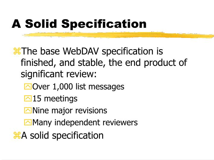 A Solid Specification
