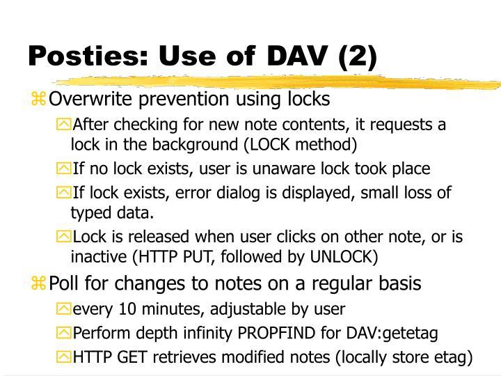 Posties: Use of DAV (2)