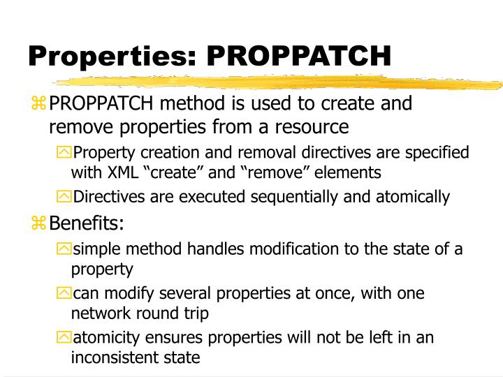 Properties: PROPPATCH