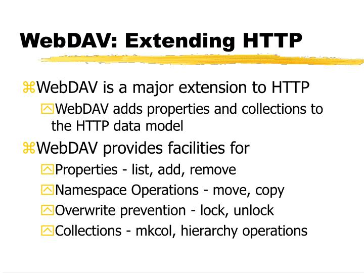 WebDAV: Extending HTTP