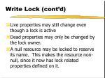 write lock cont d