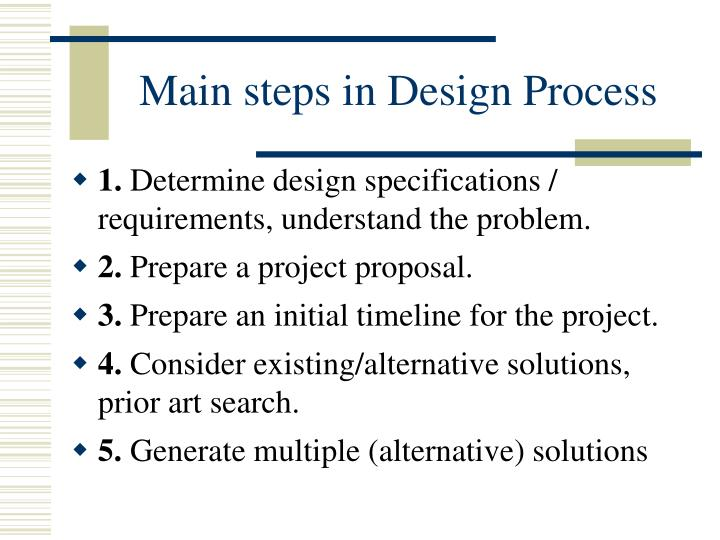Main steps in design process