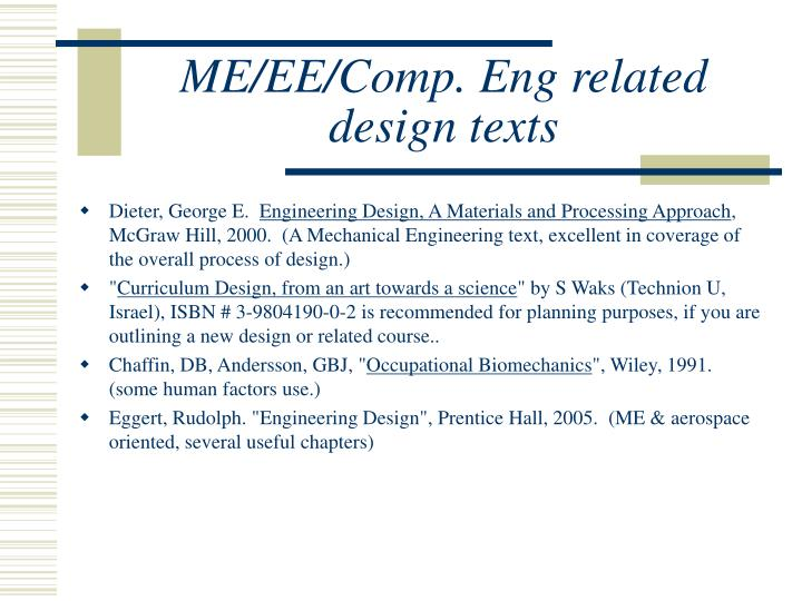 ME/EE/Comp. Eng related design texts