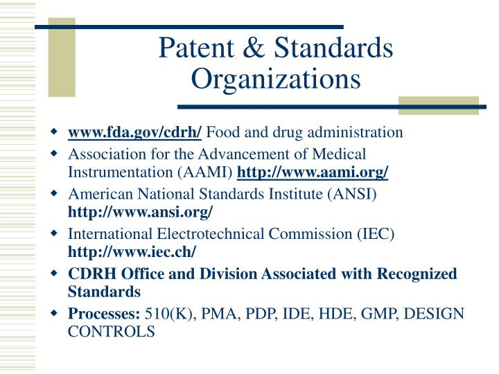 Patent & Standards Organizations