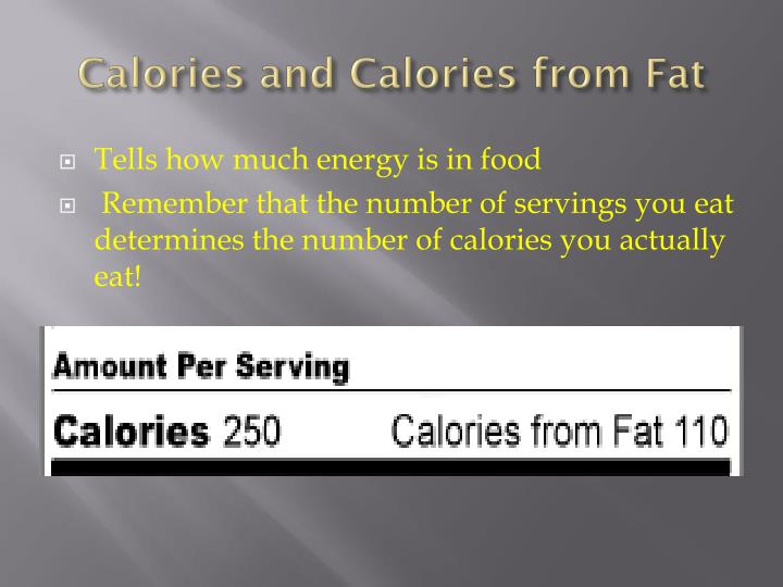 Calories and Calories from Fat