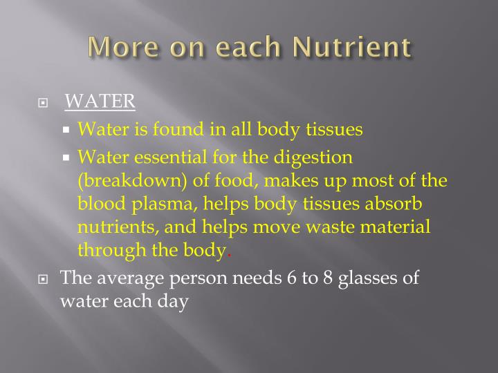 More on each Nutrient
