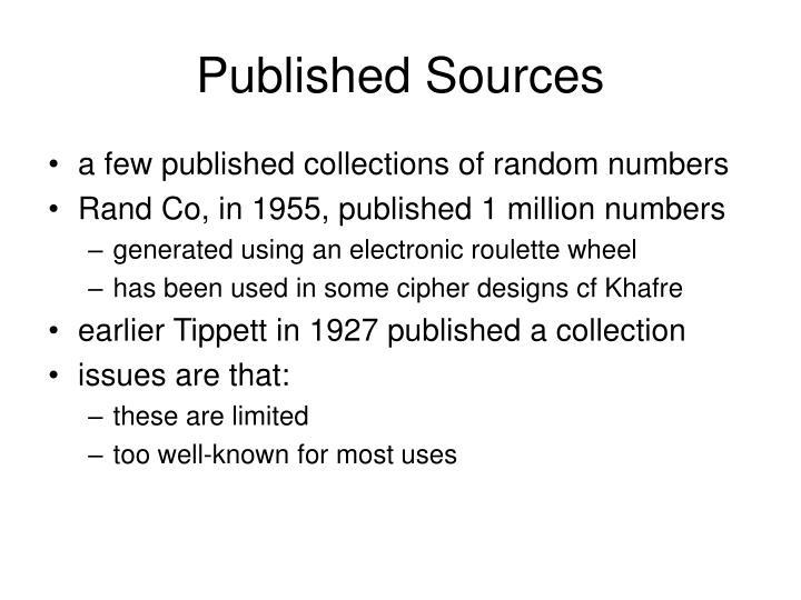 Published Sources