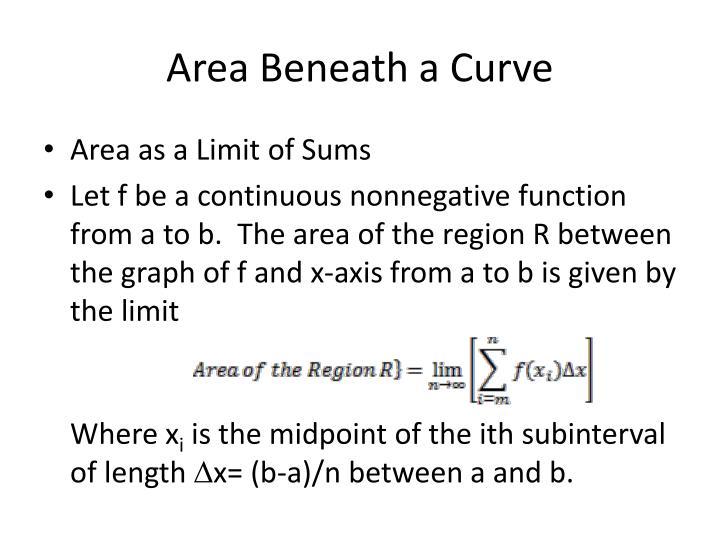 Area Beneath a Curve