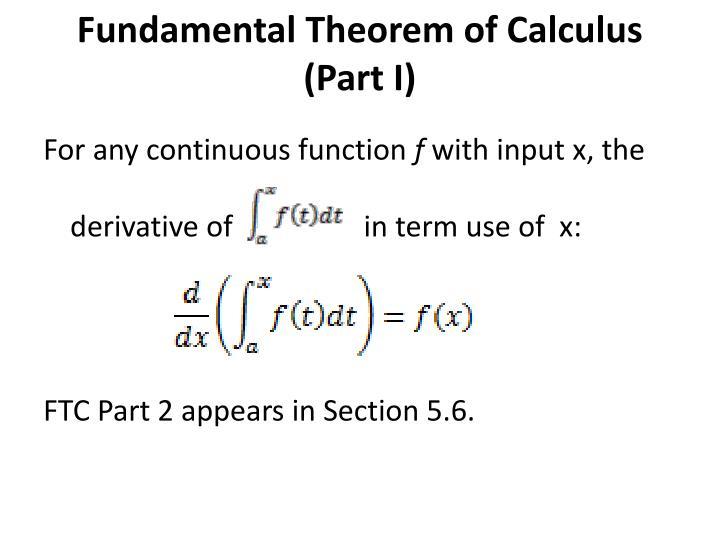 Fundamental Theorem of Calculus (Part I)
