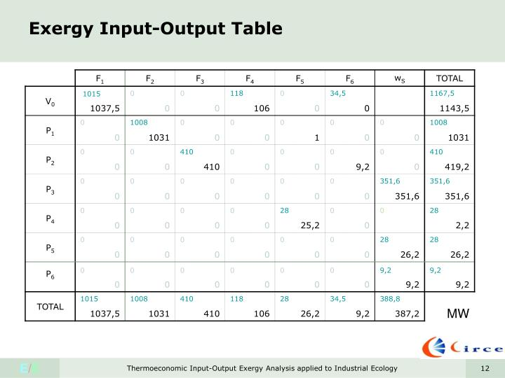 Exergy Input-Output Table