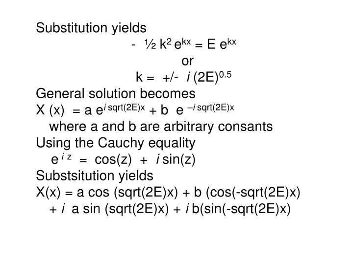 Substitution yields