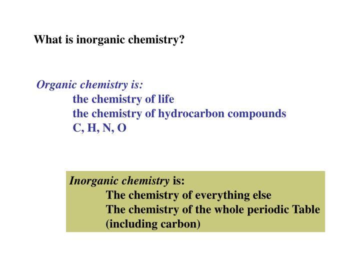 What is inorganic chemistry?