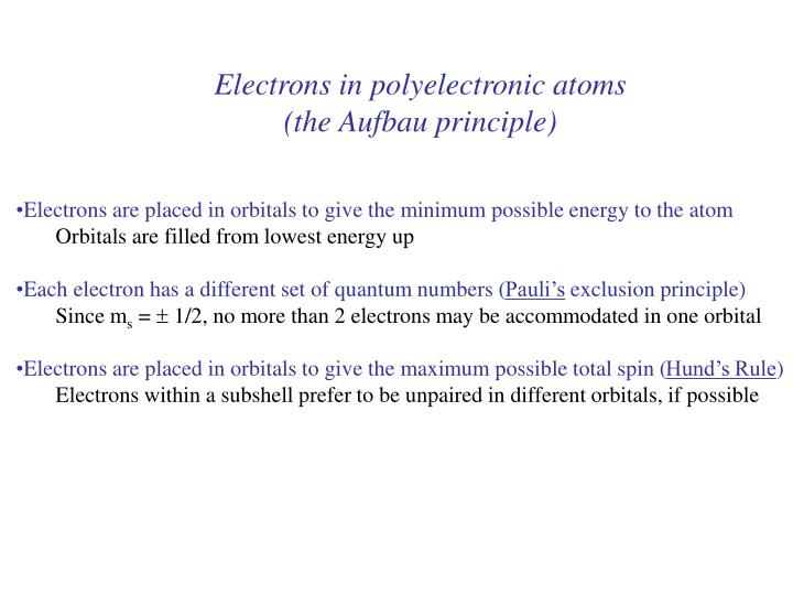 Electrons in polyelectronic atoms