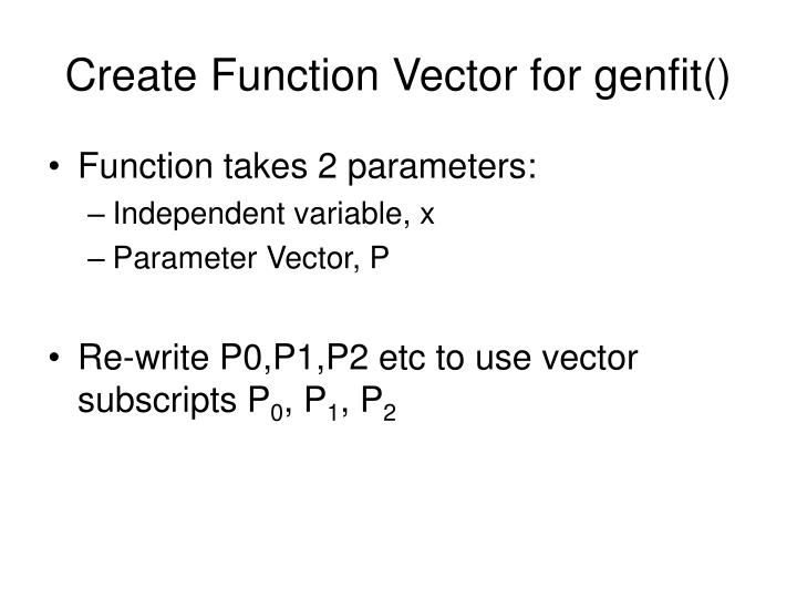 Create Function Vector for genfit()