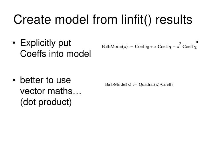 Create model from linfit() results