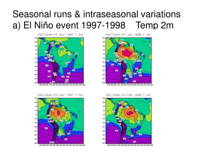 Seasonal runs & intraseasonal variations