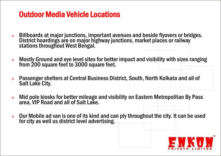 Outdoor Media Vehicle Locations