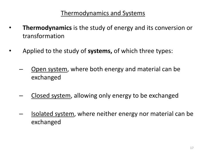 Thermodynamics and Systems