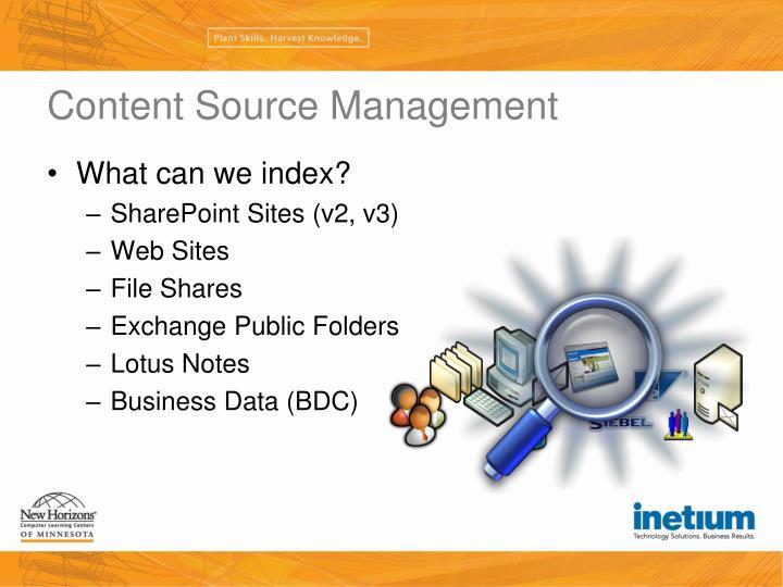 Content Source Management