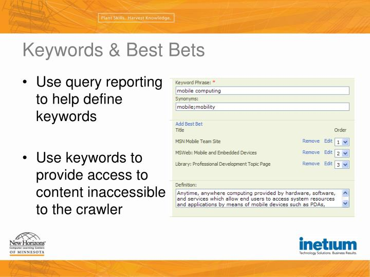 Keywords & Best Bets
