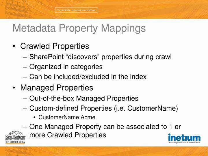 Metadata Property Mappings