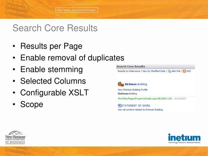 Search Core Results