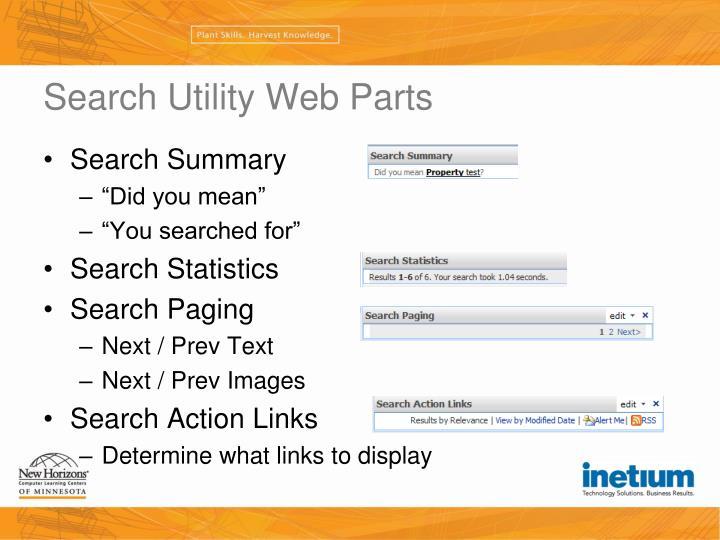 Search Utility Web Parts