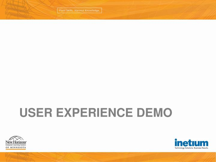 User Experience Demo