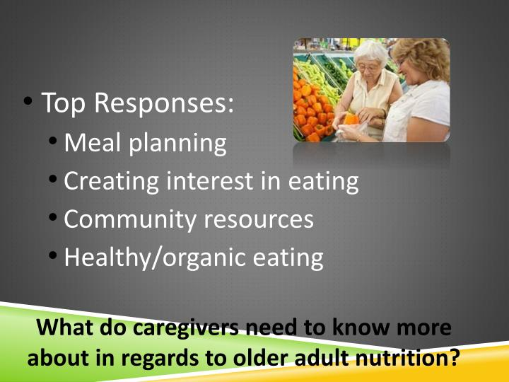 What do caregivers need to know more about in regards to older adult nutrition?