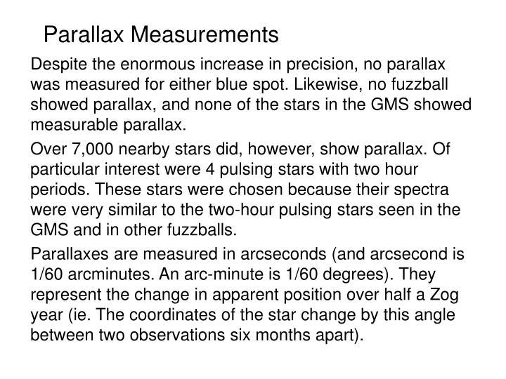 Parallax Measurements