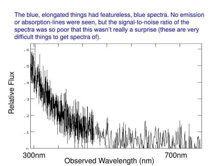 The blue, elongated things had featureless, blue spectra. No emission or absorption-lines were seen, but the signal-to-noise ratio of the spectra was so poor that this wasn't really a surprise (these are very difficult things to get spectra of).